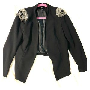 Black Blazer with Embellished  Shoulder